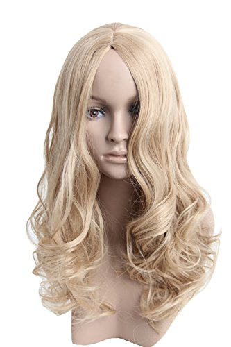 Angelaicos Womens Natural Looking Curly Straight Hair Full Wig Long (Touch Halloween Victoria)