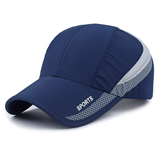 Quick Drying Lightweight Baseball Cap Outdoor Airy Mesh UV Protection Sun Hats (Navy)