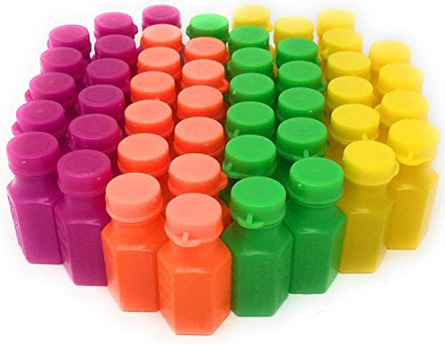 4E's Novelty Mini Neon Bubble Bottles Assortment, 48 Pack Wands Connected to The Caps. Small Carnival Prizes for Kids Bulk, Great Summer Party Favors, Birthday Parties Supplies, Size: 1.75