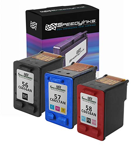 ctured Ink Cartridge Replacement for HP 56 HP 57 HP 58 (1 Black,1 Color,1 Photo Black, 3-Pack) ()