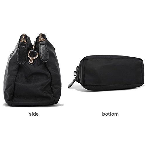 Three Phone Layers Cell Nylon Black Bags Women Purses Small Shoulder Purse Crossbody fqpwzFYf