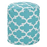 Majestic Home Goods Teal Trellis Indoor/Outdoor Bean Bag Ottoman Pouf 16'' L x 16'' W x 17'' H