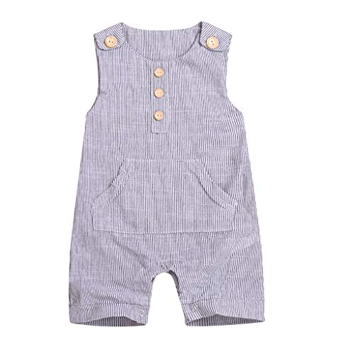 Infant One Piece Outfits Baby Grey Striped Rompers with Button Kids Sleeveless Playsuit Jumpsuits (80, Gray)