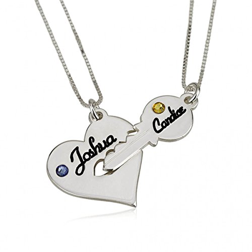 FUJIN 925 Sterling Silver Personalised 925 Sterling Silver Key and Heart Couple Necklace Set (Silver)