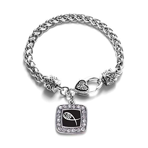 Inspired Silver - Christian Fish Love Braided Bracelet for Women - Silver Square Charm Bracelet with Cubic Zirconia Jewelry