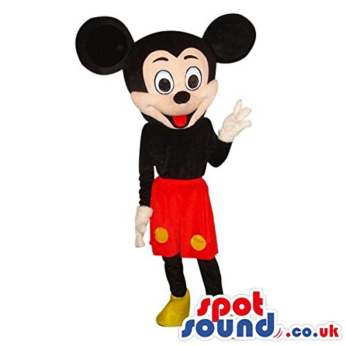 Mickey Mouse Disney Character Plush SPOTSOUND US Mascot Costume Wearing Red Shorts (Disney Character Mascot Costumes)