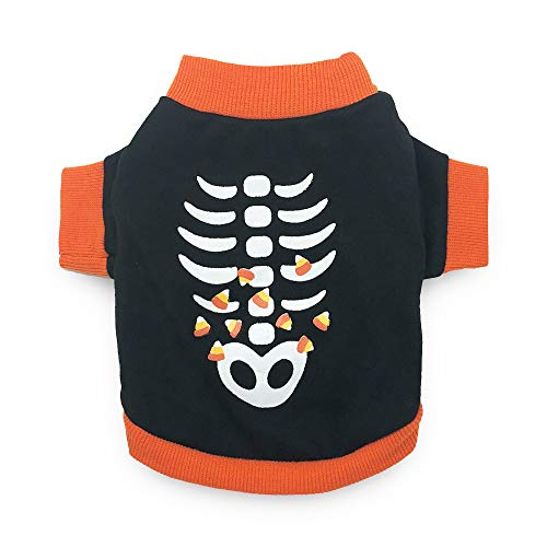 DroolingDog Dog Halloween Clothes Skeleton Costume Funny Halloween Shirts for Small Dogs, XS -
