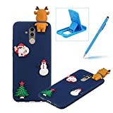 TPU Case for Huawei Mate 20 Lite,Soft Rubber Cover for Huawei Mate 20 Lite,Herzzer Ultra Slim Stylish 3D Christmas Santa Claus Deer Series Design Scratch Resistant Shock Absorbing Flexible Silicone Back Case - Dark Blue