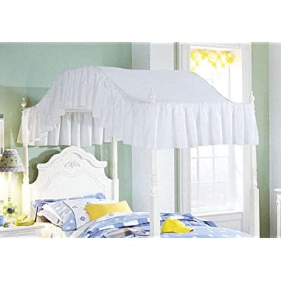 Image of Full Size White eyelet Ruffled Canopy Top Home and Kitchen