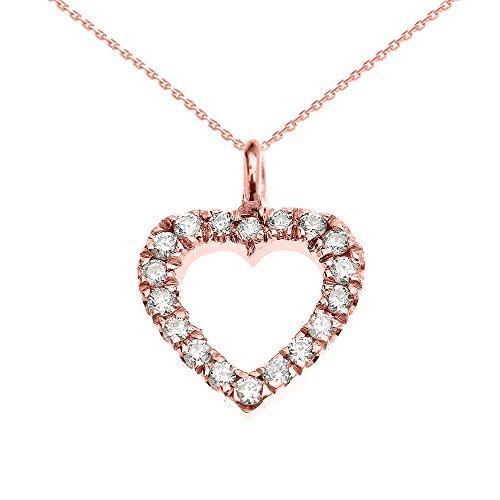 Collier Femme Pendentif 14 Ct Or Rose Ouvert Cœur Diamant Charme (Livré avec une 45cm Chaîne)
