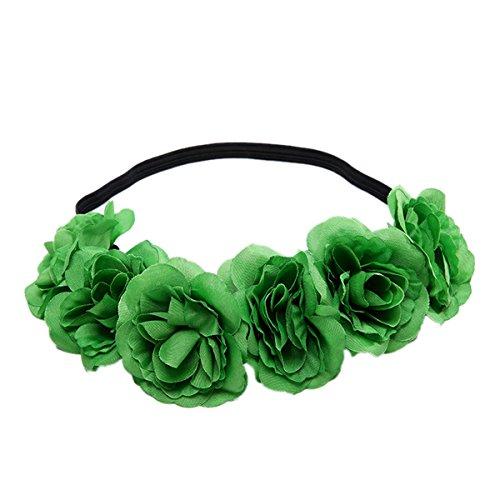 Love Sweety Rose Flower Headband Floral Crown Mexican Hair Wreath (Green)]()