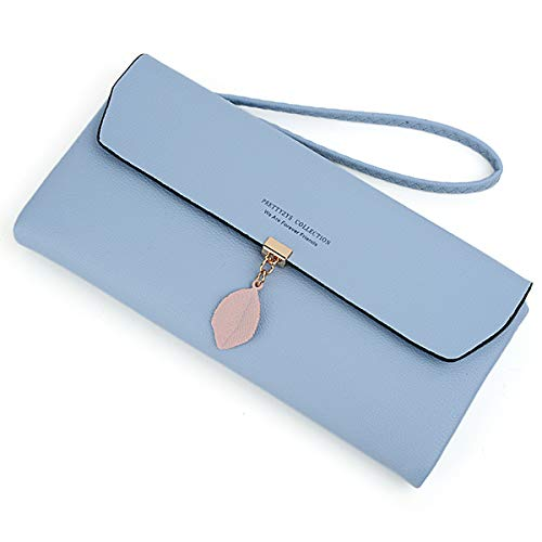 - UTO Women Wristlet Large Capacity Wallet Leaf Pendant PU Leather Card Slot Zipper Coin Phone Holder Purse Light Blue