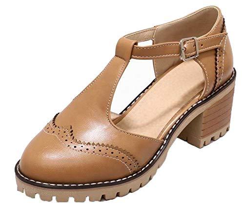 Sandals CCALP015431 Brown Kitten Solid Pu Toe VogueZone009 Buckle Closed Women Heels z1w5qv8