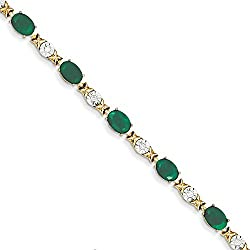 14k Diamond and Emerald Bracelet / Diamond Ctw. 0.2, Gem Ctw.7.58