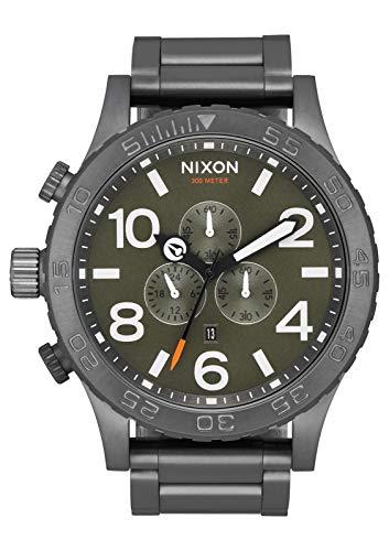 NIXON 51-30 Chrono A089 - All Gunmetal/Slate/Orange - 306M Water Resistant Men's Analog Fashion Watch (51mm Watch Face, 25mm Stainless Steel ()