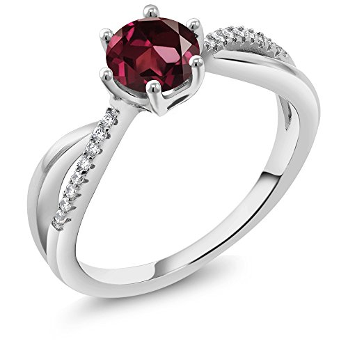 (Gem Stone King 1.19 Ct Round Red Rhodolite Garnet 925 Sterling Silver Ring (Size 8))