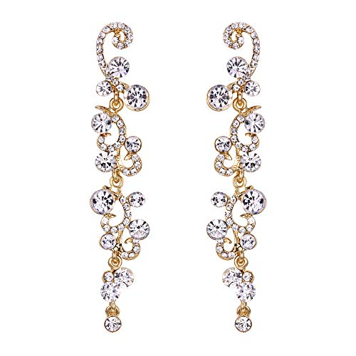 EVER FAITH Bridal Flower Wave Austrian Crystal Dangle Earrings Gold-Tone - Clear
