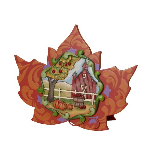 Enesco Jim Shore Heartwood Creek from Maple Leaf with Harvest Scene Plaque 9.75 in