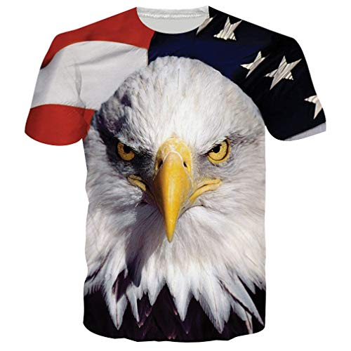 RAISEVERN Adult's Short Sleeve T-Shirt Cool 3D Print American Flag Crewneck Top Tees