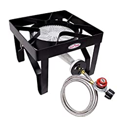 This high-pressure burner has an output of 200, 000 BTU, giving you the power to cook just about anything on your menu. Our one burner stove is perfect for camping, fishing, outdoor cooking, emergency preparedness, & more. At Gas One, saf...
