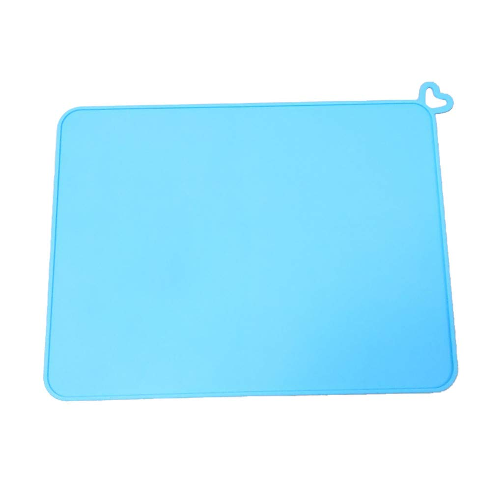 Pet Placemat Jiayit Silicone Pet Feeding Mat Non Slip Pet Food Candy Colors Solid Color Placemat for Dog Cat Durable (Blue)