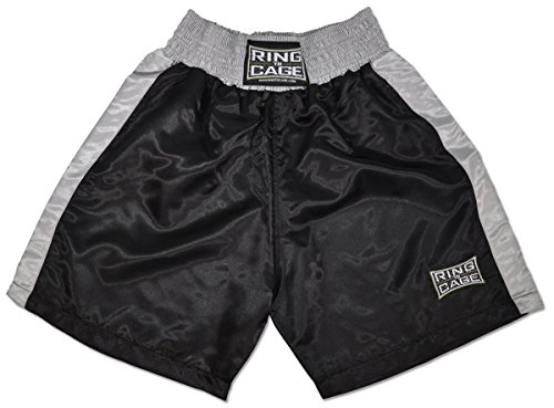 Traditional Boxing Trunks, Black/Silver, Kids and Adult Sizes