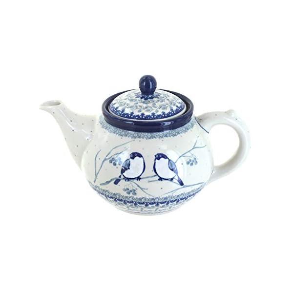 Blue Rose Polish Pottery Bluebird Medium Teapot