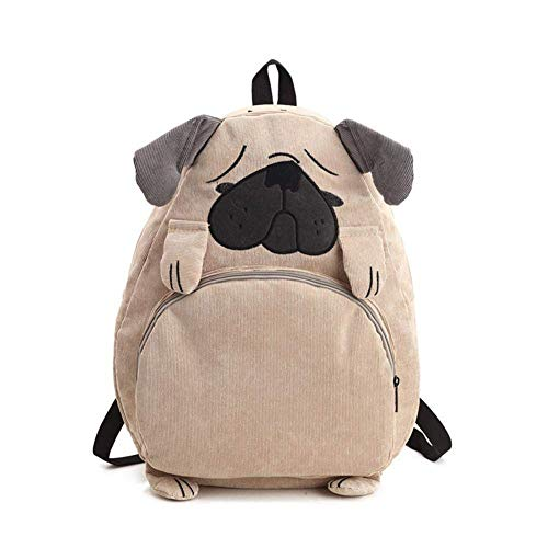 - Japanese Style Cartton Dog Fox Backpack Embroidery Corduroy Daypack Rucksack for Boys Girls (Dog)