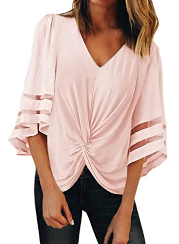 FARYSAYS Women's Summer Cute V Neck Twist Knot Front Short Sleeve Chiffon Blouses Casual Loose Tee Shirt Tops Pink - Suit Top Pants