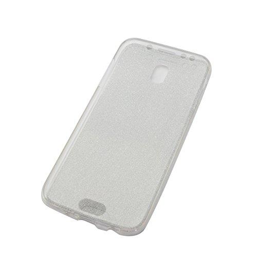 Funda Doble para Samsung Galaxy J3 (Pro) 2017, Vandot Bling Brillo Carcasa Protectora 360 Grados Full Body | TPU en Transparente Ultra Slim Case Cover | Protección Completa Delantera y Trasera Cocha S Bling Clear