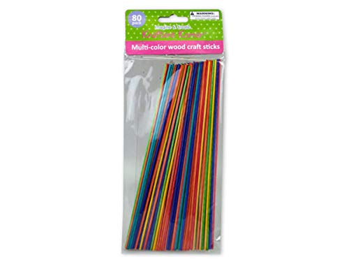 Multi-Color Wood Craft Sticks 80 Pack - Pack of 72