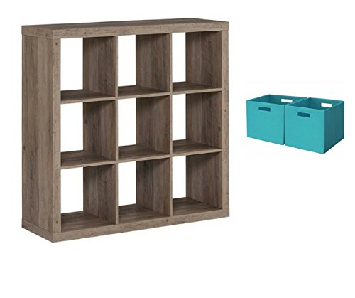 Better Homes and Gardens 9-cube Organizer Storage Bookcase Bookshelf Cabinet Divider Multiple Colors - Rustic Gray with Open Slot Storage Bins Set of 2 Teal from .Better Homes & Gardens