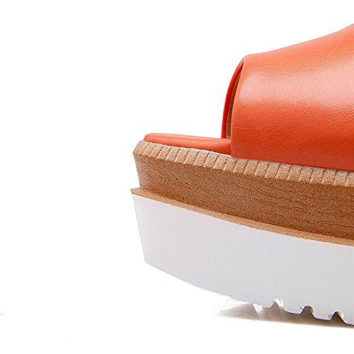 AllhqFashion Mujeres Plataforma Material Suave Sólido Hebilla Sandalia Naranja