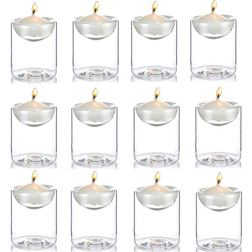 Nuptio Clear Glass Floating LED TeaLight Holders, 1.97 inches W x 2.36 inches H Ideal Gift for Weddings, Party, Spa, Reiki, Meditation, Votive Candle Gardens ()