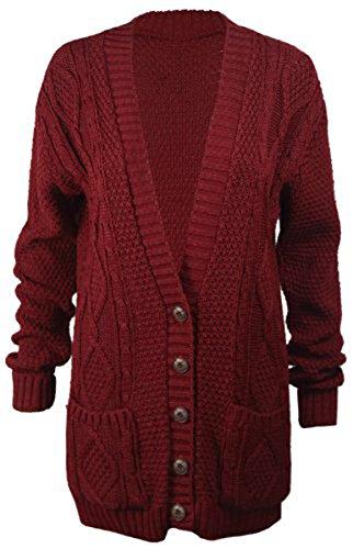 HAUT Gilet ARAN boutons GRAND CHUNKY PAPA FEMMES tricot LONG BLE V NOUVELLES Encolure CARDIGAN MANCHON C 4wqSIanO