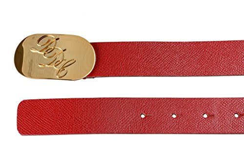 [Dsquared2 Women's Red Textured Leather Metal Buckle Decorated Belt US L] (Dsquared2 Womens Buckle)