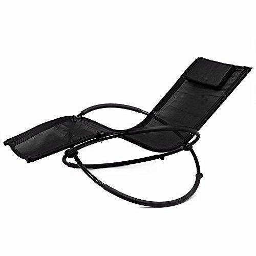 Zero Gravity Folding Orbit Chair Patio Lounger Reclining Rocking Relax Outdoor Black - Premium Houston Outlets In