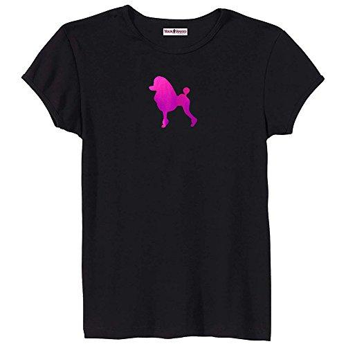 Poodle Dress Cut Ladies Pink Foil Silhouette T-Shirt Size (Cut Black Poodle T-shirt)