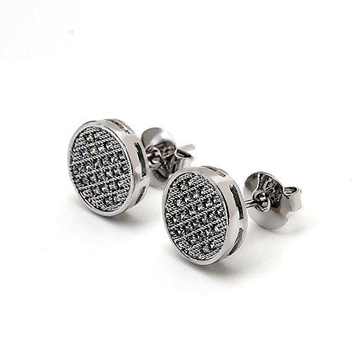 Hypoallergenic 10mm Big Men Earrings Stud Round Earrings Cubic Zirconia Stainless Steel Post Black for Sensitive Ears