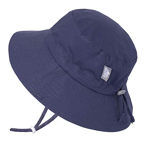 ys Girls Cotton Bucket Sun Hats 50 UPF, Drawstring Adjustable, Stay-on Tie (M: 6-24m, Navy) ()