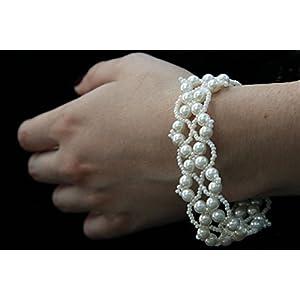 Wedding Beaded Bracelets, White Cuff Beaded Bracelets, Bridal Bracelet, White Bead Bracelet, Beaded Bracelets, Bead Jewelry, Seed Bead Bracelet, Wedding Bracelet, Artificial Glass Pearls Bracelets