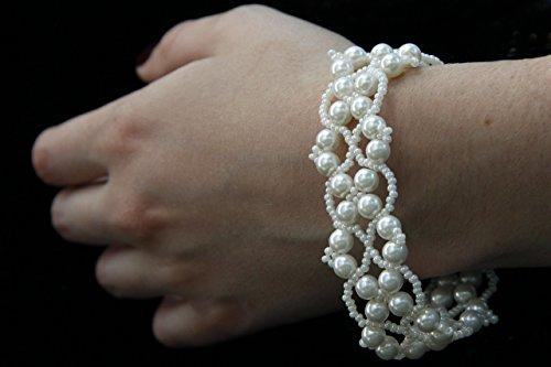 Wedding Beaded Bracelets, White Cuff Beaded Bracelets, Bridal Bracelet, White Bead Bracelet, Beaded Bracelets, Bead Jewelry, Seed Bead Bracelet, Wedding Bracelet, Artificial Glass Pearls - Online Glass Buy