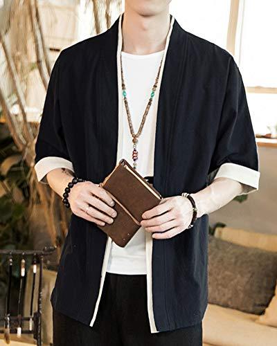 Hombres Verano Chinese para Cárdigan Mujeres Jacket Negro Capa Kimono Japón Kimono Cloak Casual Style PengGengA 07wd0
