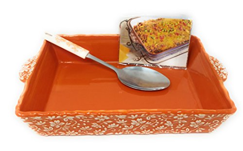 Temp-tations Embossed 4 Qt Baker, Casserole Dish (13x9), w/Server & Recipe Cards (Floral Lace Spice)