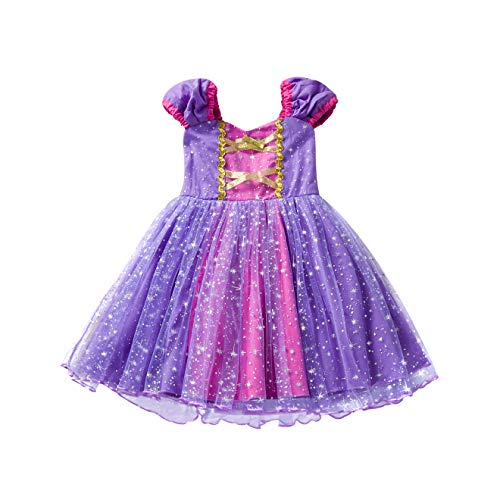 Little Girls Princess Cinderella Rapunzel Dress Elegant Mermaid Party Fancy Costume for Toddler Girl Size (110) 3-4 Years Purple ()