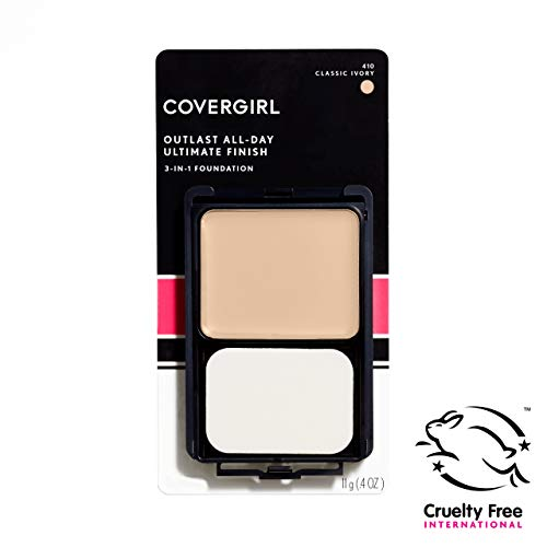 COVERGIRL Outlast All-Day Ultimate Finish 3-in-1 Foundation, Classic Ivory 410, 0.4 Ounce (Packaging May Vary) (Best Foundation For 60 Year Old Skin)