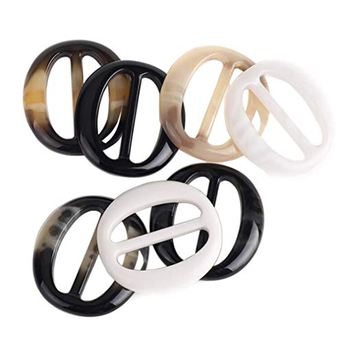 VASANA 6PCS 5cm/2Inch Women Lady Girls Smoothing Plastic Oval Circle Scarf Ring Scarves Buckle Silk Clips Clothing Ring Wrap Holder Decorative Jewelry for Neckerchief Clothing T-Shirt (Color Random)