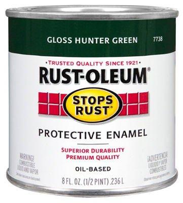 (Rustoleum Stops Rust 7738 730 1/2 Pint Hunter Green Protective Enamel Oil Base Paint)