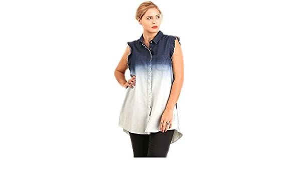 5ae0d103c9 UMGEE Plus Size Button Up Denim Shirt Sleeveless With Raw Edges On Sleeves  at Amazon Women s Clothing store