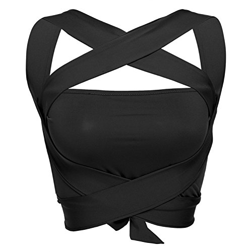 Cropped Halter Top - Qullyo Sexy Women Halter Bandage Crop Top Club Wea Cross Spaghetti Strap Cropped Vest